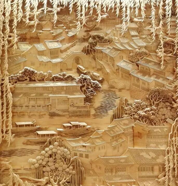 创意木雕山水图片